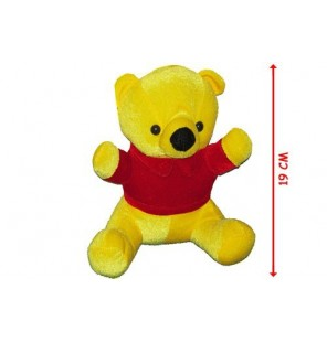 PELUCHE OURS ASSIS T-SHIRT ROUGE 19CM