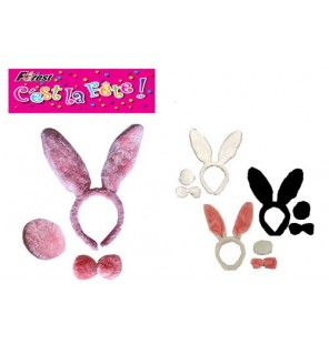 SET LAPIN PELUCHE 3 PIECES 4 assortiments