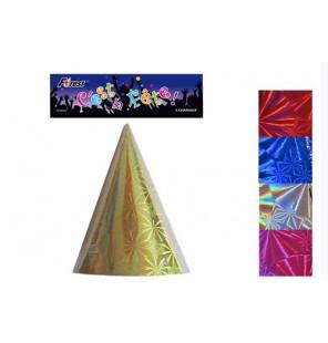 5 CHAPEAUX PAPIER HOLOGRAPHIQUE 5 coloris
