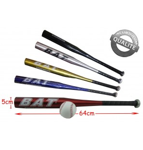 BATTE BASEBALL METAL + 1 BALLE 5 Coloris