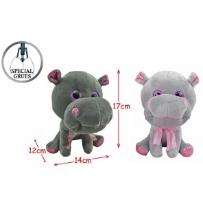 Peluche hippopotame assis 2 coloris