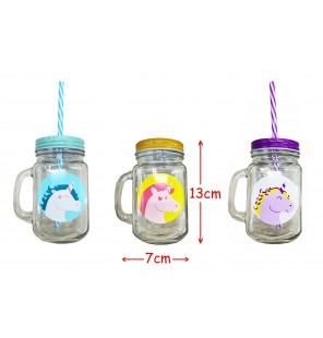 VERRE LICORNE COUVERCLE METAL 3 ASS