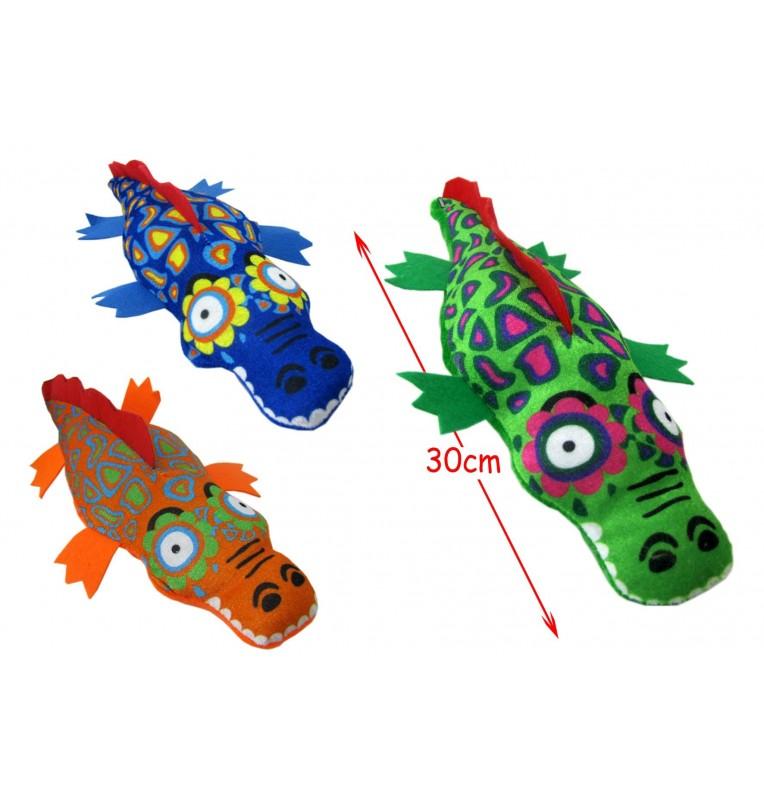 Peluche crocodile imprimé 3 coloris