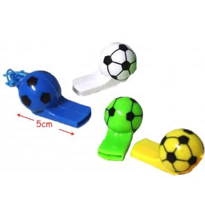 SIFFLET BALLON DE FOOTBALL D 5CM 4 Coloris