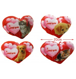 Coeur rouge I Love You en peluche imprimé chiot ou chaton assortis.