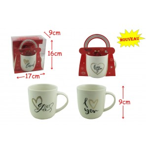 BOITE MUG LOVE BLANC 4 ASSORTIMENTS