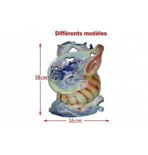 STATUETTE COQUILLAGE 2 DAUPHINS H 14CM