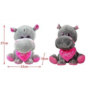 Peluche hippopotame assis coeur 2 coloris.