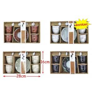 SET CAFE 4 TASSES + CUILLERES