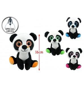 Peluche panda yeux brillants 4 assortis.