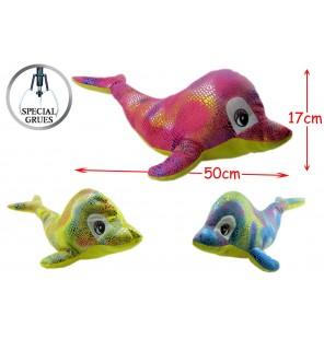 Peluche dauphin brillant  3 coloris.