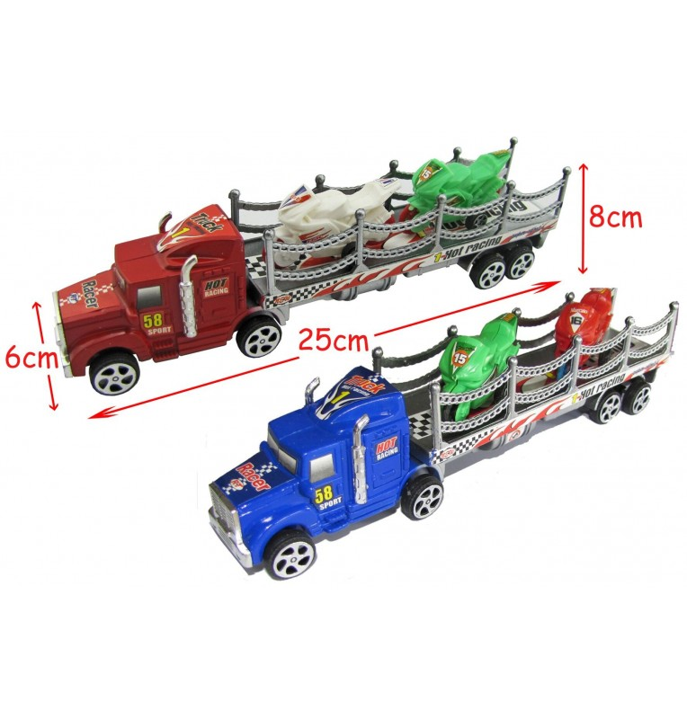CAMION FRICTION + 2 MOTOS TAILLE