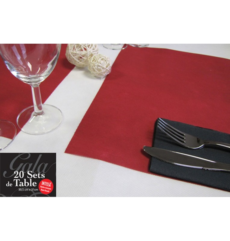 20 SETS DE TABLE INTISSES BORDEAUX
