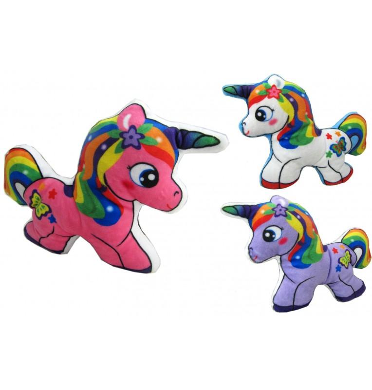 Peluche licorne imprimée 3 coloris