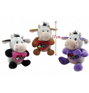 PELUCHE VACHE ASSISE LOVE 3 COLORIS
