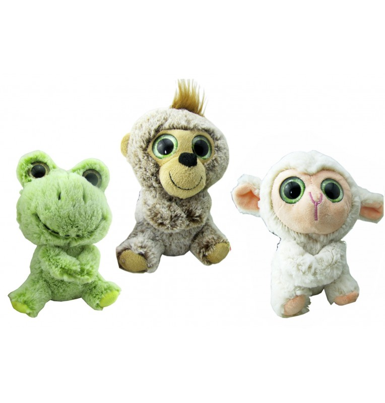 Peluche animal assis 3 assortis.