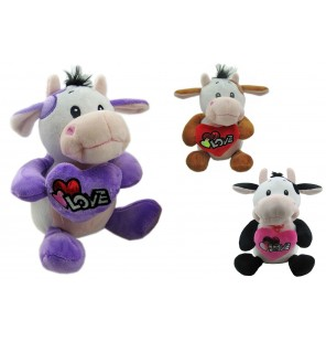 PELUCHE VACHE ASSISE LOVE 3 COLORIS 45CM