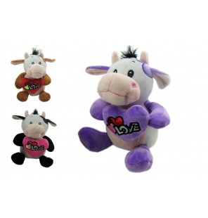Peluche vache assise Love 3 coloris.