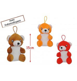 Peluche ours assis 3 coloris.