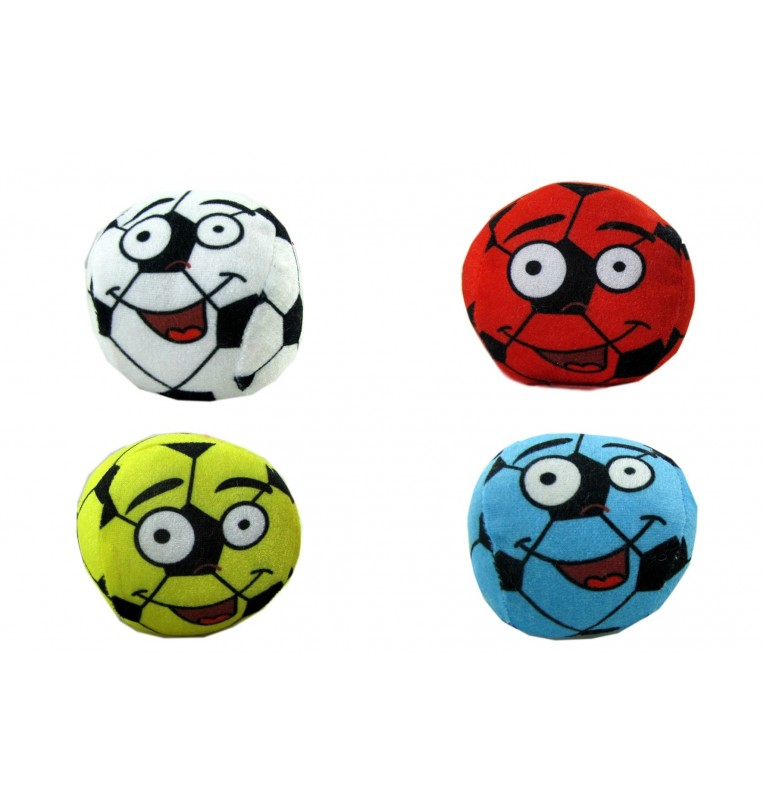 Peluche ballon foot visage 4 coloris