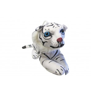 PELUCHE FÉLIN ALLONGE 3 ASSORTIS BLANC