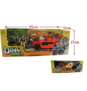 set dinosaure + véhicule et accessoires