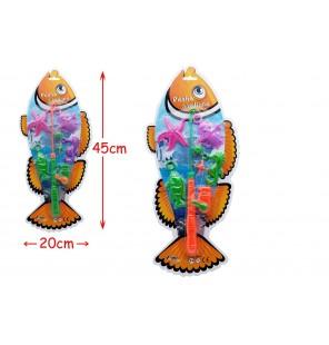 canne à pêche avec 4 poissons