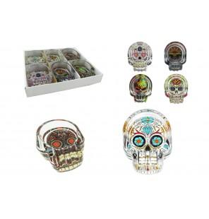 présentoir comprenant 6 cendriers en verre tête de mort.