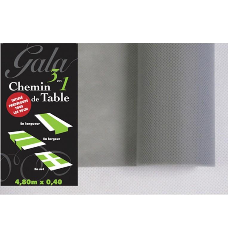 CHEMIN DE TABLE PREDECOUPE INTISSE GRIS