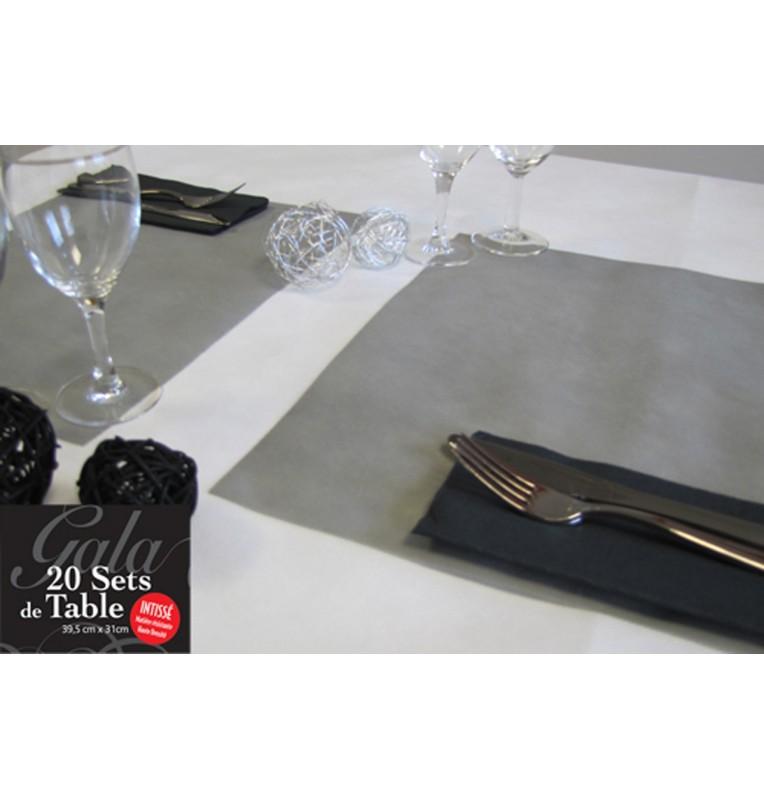 20 SETS DE TABLE INTISSES GRIS