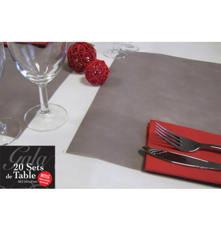 20 SETS DE TABLE INTISSES TAUPE